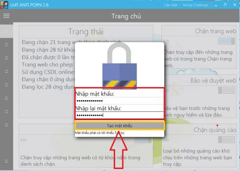 tạo mật khẩu trên phần mềm LMT Anti Porn
