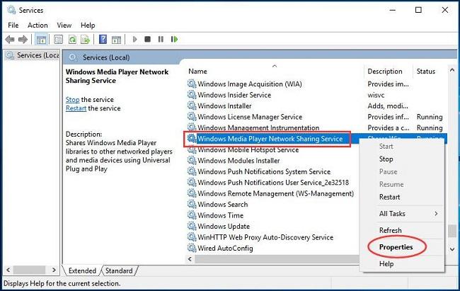 Vô hiệu hóa WMP Network Sharing Service 1