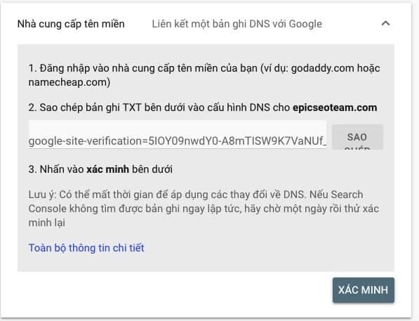 Xác minh bằng DNS tên miền