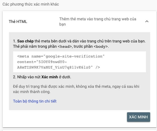 Xác minh với tệp HTML