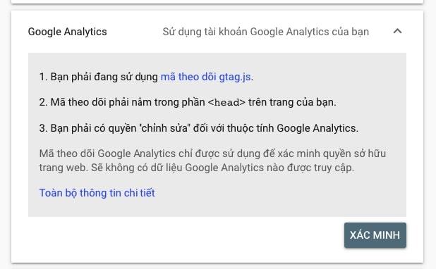 Xác minh bởi tag Google analytics