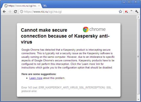 lỗi SSL facebook do chương trình diệt Virus Kaspersky Anti-Virus